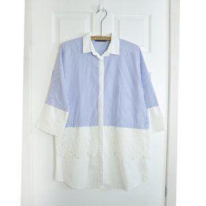 Zara Striped Crochet Shirt Tunic Dress